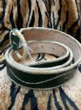 KILLER 50s ROCKABILLY GREEN LEATHER BELT- SIZE 90 -AMAZING DESIGN - TOP QUALITY - VLV